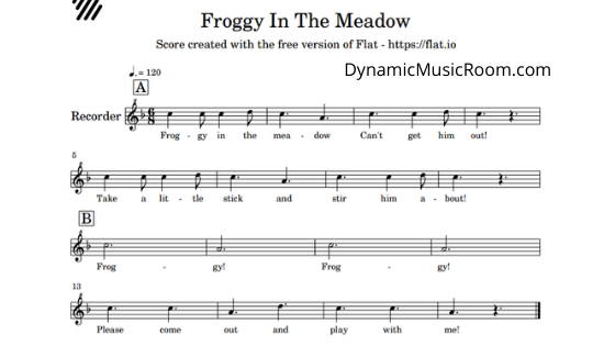 image froggy in the meadow notation