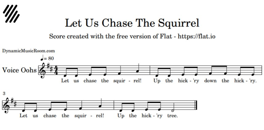 image let us chase the squirrel melody notation