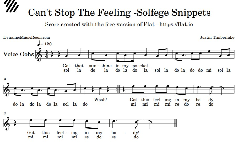 image can't stop the feeling solfege