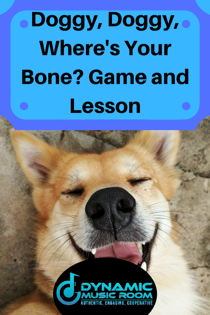 image doggy, doggy, where's your bone? game and lesson pin