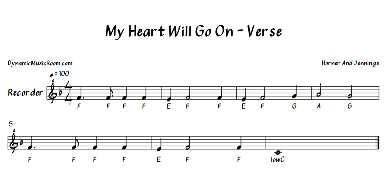 image my heart will go on verse recorder sheet music