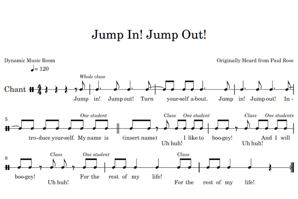 jump in jump out sheet music